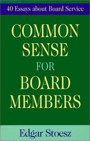 Cover of: Common Sense For Board Members