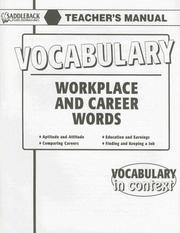 Cover of: Workplace and Career Words Teachers Manual (Vocabulary in Context)