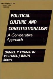 Cover of: Political Culture and Constitutionalism