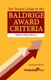 The Pocket Guide to the Baldrige Award Criteria by Mark Graham Brown