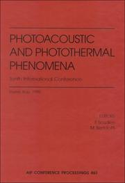 Cover of: Photoacoustic and photothermal phenomena |