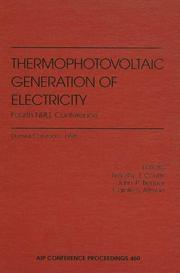Cover of: Thermophotovoltaic Generation of Electricity