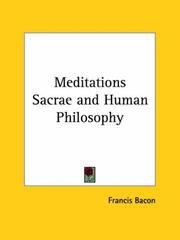 Cover of: Meditations Sacrae and Human Philosophy