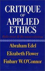 Cover of: Critique of applied ethics | Abraham Edel