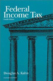 Cover of: Federal income tax | Douglas A. Kahn