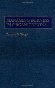 Cover of: Managing fairness in organizations | Constant D. BeugreМЃ