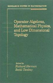 Cover of: Operator algebras, mathematical physics, and low dimensional topology |