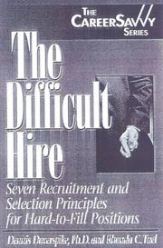 Cover of: The Difficult Hire | Dennis Doverspike