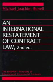 Cover of: international restatement of contract law | Michael Joachim Bonell