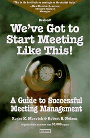 Cover of: We've got to start meeting like this