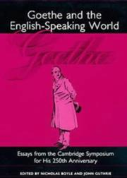 Cover of: Goethe and the English-Speaking World |