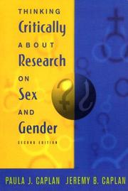 Thinking critically about research on sex and gender by Paula J. Caplan