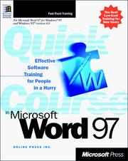 Cover of: Quick course in Microsoft Word 97