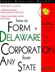 Cover of: How to form a Delaware corporation from any state