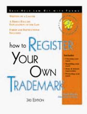 Cover of: How to register your own trademark | Mark Warda