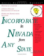 Cover of: Incorporate in Nevada from any state: With Forms (Legal Survival Guides)