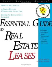 Cover of: Essential guide to real estate leases