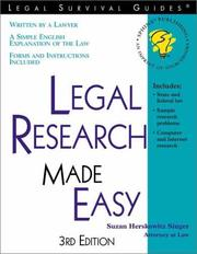 Cover of: Legal research made easy
