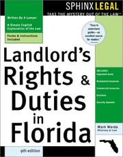 Cover of: Landlords' rights and duties in Florida