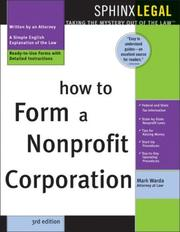 Cover of: How to form a nonprofit corporation: with forms