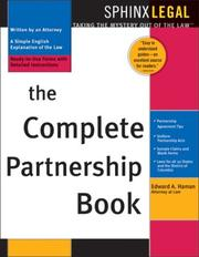 Cover of: The Complete Partnership Book (Sphinx Legal) | Edward A. Haman