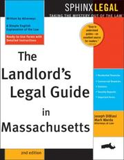Cover of: The landlord's legal guide in Massachusetts