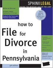 Cover of: How to file for divorce in Pennsylvania | Rebecca A. DeSimone