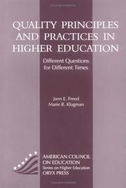 Cover of: Quality principles and practices in higher education