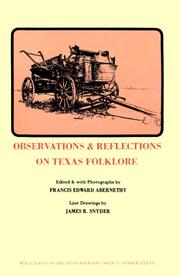 Cover of: Observations & Reflections on Texas Folklore (Publications of the Texas Folklore Socie Series)