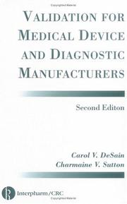 Cover of: Validation for medical device and diagnostic manufacturers