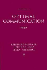 Cover of: Optimal Communicaton (Center for the Study of Language and Information - Lecture Notes) |