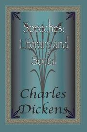 Cover of: Speeches: Literary and Social