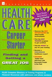 Cover of: Health care career starter | Cheryl Hancock