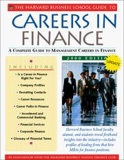 Cover of: The Harvard Business School Guide to Careers in Finance 2000 |