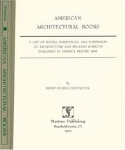 Cover of: American architectural books | Henry Russell Hitchcock