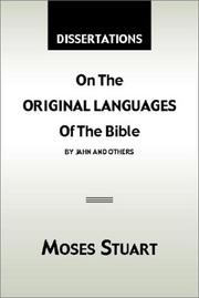 Cover of: Dissertations on the Original Languages of the Bible