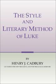 Cover of: The style and literary method of Luke