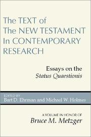 Cover of: The text of the New Testament in contemporary research by