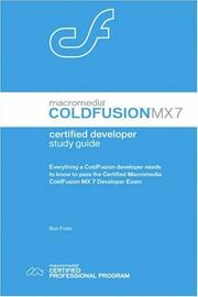 Cover of: Macromedia ColdFusion MX 7 Certified Developer Study Guide