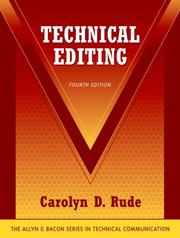 Cover of: Technical Editing (4th Edition) (Technical Communication) | Carolyn D. Rude
