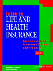 Cover of: Intro to life and health insurance