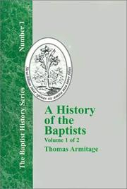 Cover of: A History of the Baptists - Vol. 1 (Baptist History)
