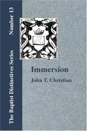 Cover of: Immersion | John T. Christian