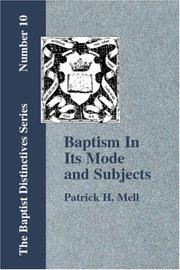 Cover of: Baptism In Its Mode and Subjects