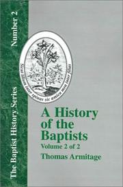 Cover of: A History of the Baptists - Vol. 2 (Baptist History)