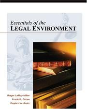 Cover of: Essentials of the legal environment