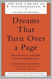 Cover of: Dreams That Turn Over a Page (New Library of Psychoanalysis) | Jean-M Quinodoz