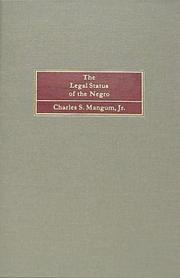 Cover of: The legal status of the Negro