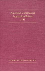 Cover of: American commercial legislation before 1789