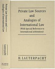 Cover of: Private law sources and analogies of international law